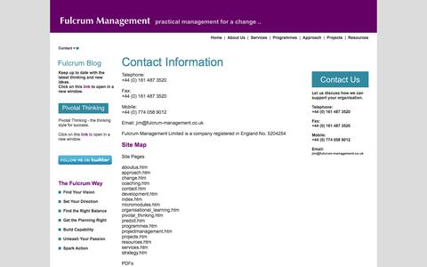 Screenshot of Privacy Page Contact Page Site Map Page Terms Page fulcrum-management.co.uk - Fulcrum Management - captured Oct. 23, 2014