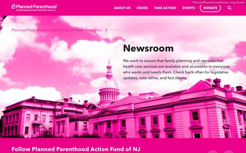 Screenshot of Press Page plannedparenthoodaction.org - Newsroom     | Planned Parenthood Action Fund of New Jersey - captured Feb. 20, 2018