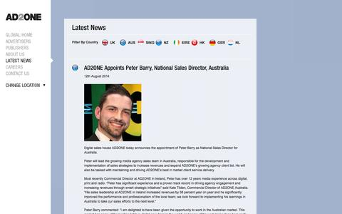 Screenshot of Press Page ad2onegroup.com - News | Global | The AD2ONE Group - captured Sept. 19, 2014