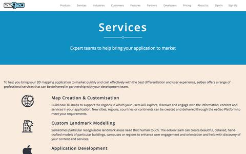 Screenshot of Services Page eegeo.com - eeGeo | Services | - captured May 9, 2017