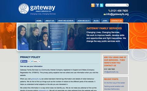 Screenshot of Privacy Page gatewayfs.org - Privacy Policy «  Gateway Family Services - captured Oct. 2, 2014