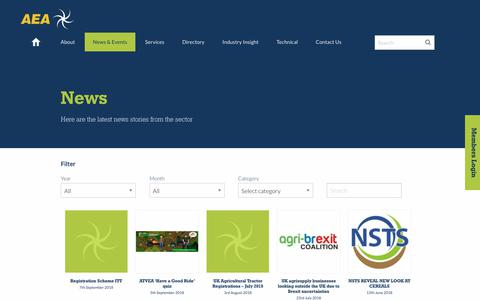 Screenshot of Press Page aea.uk.com - News   Agricultural Engineers Association - captured Oct. 3, 2018