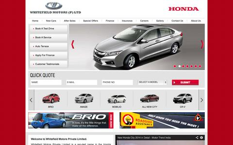 Screenshot of Home Page whitefieldhonda.com - Whitefield Honda: Authorized Honda Dealers and servicing in Bangalore - captured Oct. 8, 2014