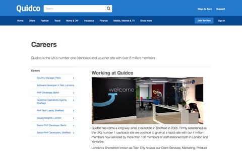 Screenshot of Jobs Page quidco.com - Careers | Quidco - captured July 30, 2016