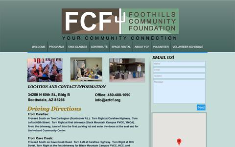 Screenshot of Maps & Directions Page azfcf.org - Directions to the FCF-Holland Community Center - captured Oct. 10, 2018