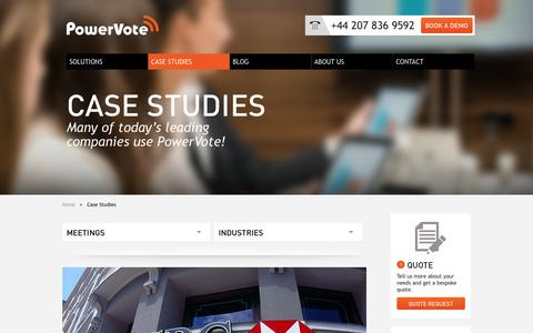 Screenshot of Case Studies Page powervote.com - Case studies - captured Oct. 10, 2014