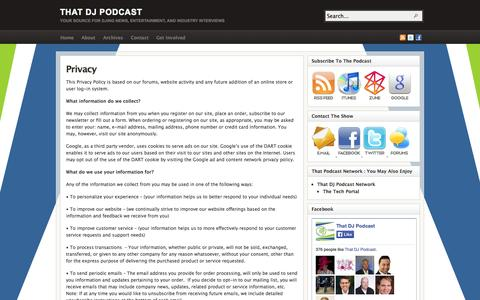 Screenshot of Privacy Page thatdjpodcast.com - Privacy - captured Oct. 7, 2014