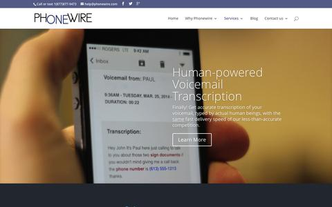 Screenshot of Services Page phonewire.com - Services   Phonewire.com - captured Jan. 28, 2016