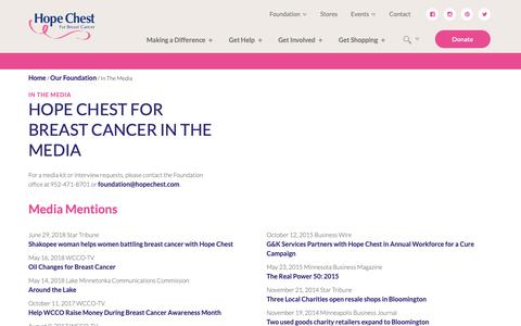 Screenshot of Press Page hopechest.com - In The Media   Hope Chest For Breast Cancer - captured Sept. 29, 2018