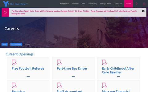 Screenshot of Jobs Page riverdaley.org - Careers - The Riverdale Y - captured Oct. 22, 2017
