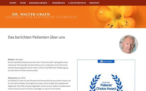 Screenshot of Testimonials Page drgrath.com - Testimonials - captured June 8, 2016