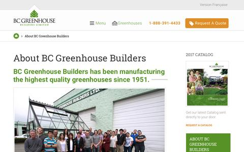 Screenshot of About Page bcgreenhouses.com - About BC Greenhouse | BC Greenhouse Builders Ltd. - captured Jan. 26, 2017