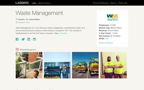 Jobs at Waste Management | Ladders