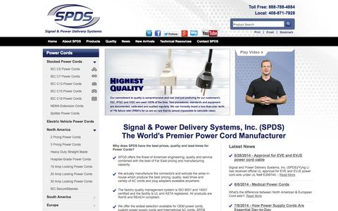 Screenshot of Home Page signalandpower.com - AC Power Cords and Plug Adapter Products | Signal & Power - captured Oct. 8, 2014