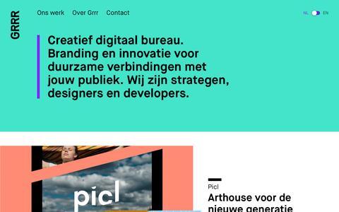 Screenshot of Home Page grrr.nl - Grrr — Digital creative agency voor design, branding en innovatie. - captured May 25, 2017