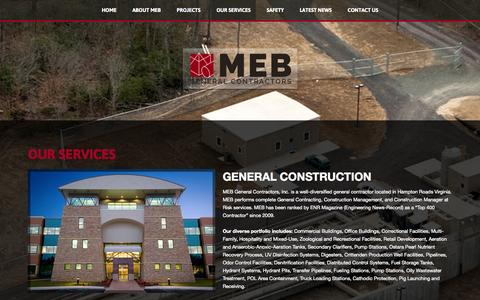 Screenshot of Services Page mebgc.com - Our Services - captured Oct. 3, 2014