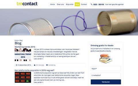 Screenshot of Blog tmcontact.nl - acquisitie blog - captured Jan. 11, 2016