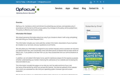 Privacy Policy | OpFocus, Inc.