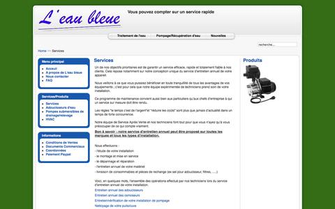 Screenshot of Services Page eaubleue.eu - Services - captured Oct. 1, 2014