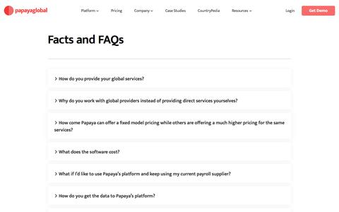 Screenshot of FAQ Page papayaglobal.com - FAQ's | Papaya Global - captured Jan. 19, 2020