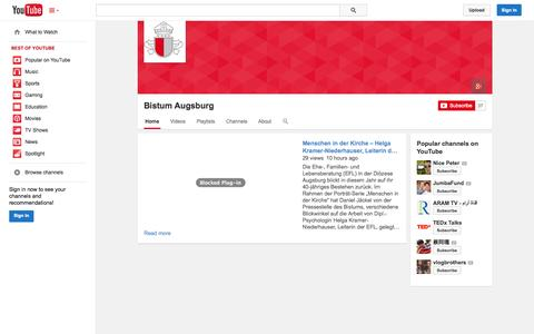 Screenshot of YouTube Page youtube.com - Bistum Augsburg  - YouTube - captured Nov. 6, 2014