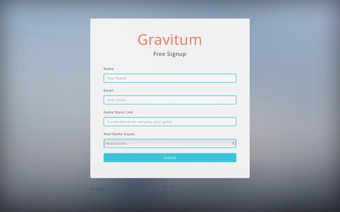 Screenshot of Contact Page Signup Page gravitum.com - Try Gravitum Free - captured Nov. 13, 2016
