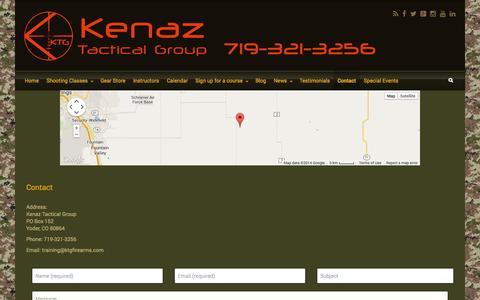 Screenshot of Contact Page ktgfirearms.com - Kenaz Tactical Group – Contact - captured Oct. 6, 2014