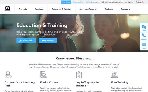 Screenshot of Services Page ca.com - Education & Training - CA Technologies - captured April 14, 2018