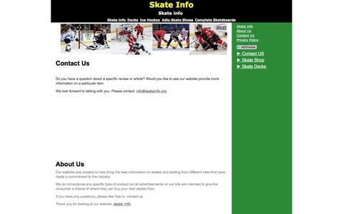 Screenshot of About Page Privacy Page Contact Page skateinfo.org - contact - captured March 12, 2016
