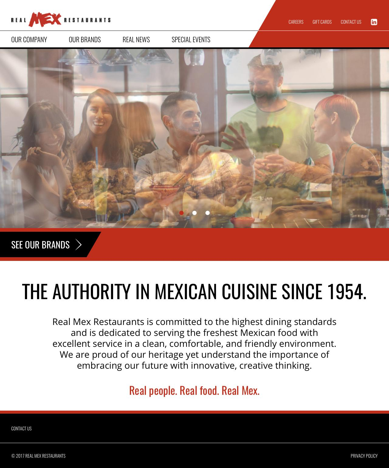 Screenshot of realmexrestaurants.com - Real Mex Restaurants | The Authority in Mexican Cuisine Since 1954 - captured June 18, 2017