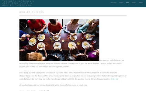 Screenshot of Menu Page thebirchbar.com - grilled cheeses - The Birch:  Norfolk's Craft Beer, Cider, & Grilled Cheese Bar - captured Nov. 16, 2018