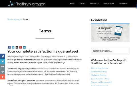 Screenshot of Terms Page kathrynaragon.com - Terms - Kathryn Aragon Media - captured Sept. 24, 2014