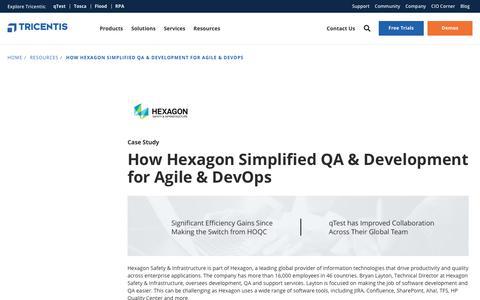 Screenshot of Case Studies Page tricentis.com - How Hexagon Simplified QA & Development for Agile & DevOps - Tricentis - captured Feb. 7, 2019