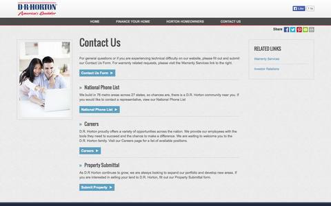 Screenshot of Contact Page drhorton.com - Contact Us | D.R. Horton - captured Sept. 19, 2014