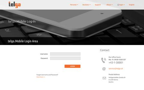 Screenshot of Login Page telgo.at - telgo.Mobile Login Area - captured Oct. 10, 2014