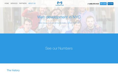 Screenshot of About Page maxpho.com - Web development company in NYC - Maxpho - captured Jan. 27, 2017