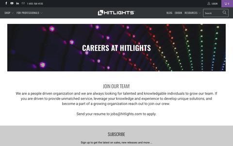 Screenshot of Jobs Page hitlights.com - Careers - HitLights - captured Nov. 5, 2018