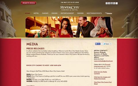Screenshot of Press Page rivercity.com - Press Releases » River City - captured Oct. 7, 2014