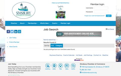 Screenshot of Jobs Page simsburycoc.org - Job Search - Simsbury Chamber of Commerce, CT - captured Oct. 2, 2018
