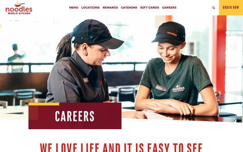 Screenshot of Jobs Page noodles.com - Careers ~ Noodles World Kitchen - captured Oct. 13, 2018