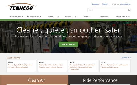 Screenshot of Home Page tenneco.com - Pioneering global ideas for cleaner air and smoother, quieter and safer transportation. | Tenneco Inc. - captured Nov. 15, 2018