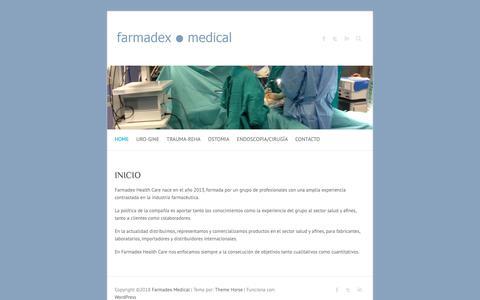 Screenshot of Home Page farmadex.es - INICIO - Farmadex Medical - captured Nov. 14, 2018