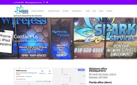 Screenshot of Contact Page sparkservices.net - Contact - SPARK Services - captured Oct. 20, 2018