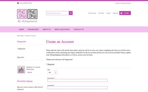 Screenshot of Signup Page bfragranced.com - Create an Account - captured Oct. 1, 2014