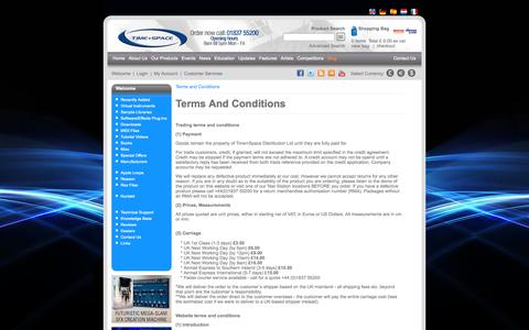 Screenshot of Terms Page timespace.com - Terms and Conditions - Time+Space | Virtual Instruments, VST Plugins, Sample Libraries, Sample CDs, Downloads, Tutorial DVDs, Hardware and Software - captured Oct. 7, 2014