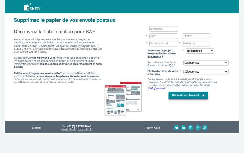 Fiche solution - Service Courrier d'Esker pour SAP
