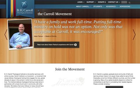 Screenshot of Testimonials Page bhcarroll.edu - the Carroll Movement - captured Oct. 2, 2014