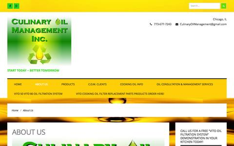 Screenshot of About Page culinaryoilmanagement.com - About Us ~ Culinary Oil Management Inc. - captured Sept. 30, 2014