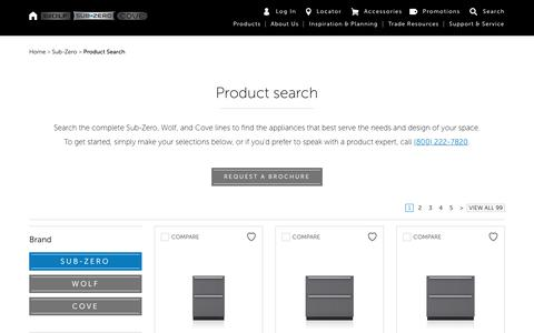 Screenshot of Products Page subzero-wolf.com - Sub Zero Refrigeration Product Search | Full Size, Undercounter & Wine Storage - captured Oct. 4, 2019