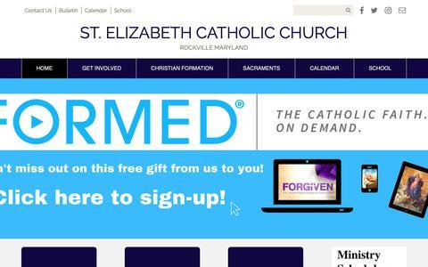 Screenshot of Home Page stelizabethchurchmd.org - St. Elizabeth Church | Rockville, MD - captured Oct. 1, 2018